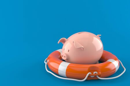 Piggy bank with life buoy isolated on blue background