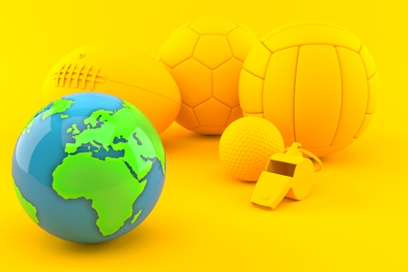 Sport background with world globe in orange color