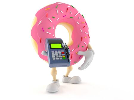 Donut character holding credit card reader isolated on white background Stock Photo
