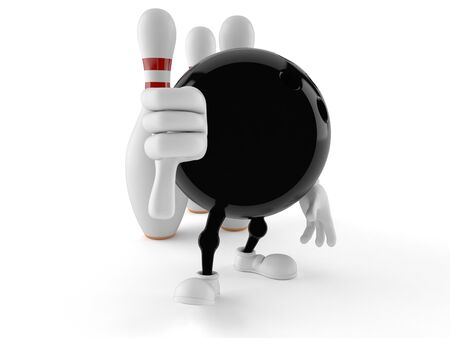 Bowling character with thumb down isolated on white background
