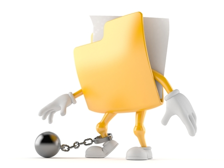 Folder character with prison ball isolated on white background