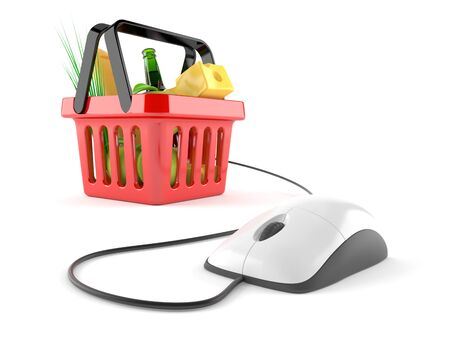 Shopping basket with computer mouse isolated on white background