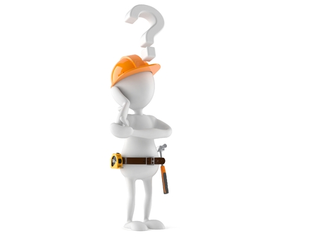 Manual worker with question mark isolated on white background