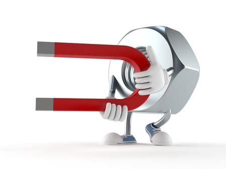 Nut character holding horseshoe magnet isolated on white background 写真素材
