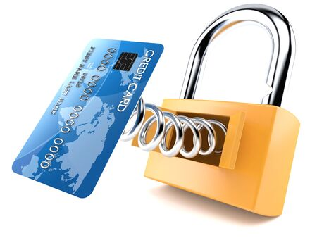 Credit card with padlock isolated on white background
