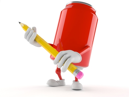 Soda can character holding pencil isolated on white background Фото со стока