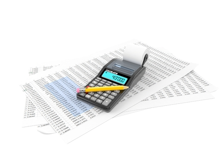 Sheets with calculator isolated on white background