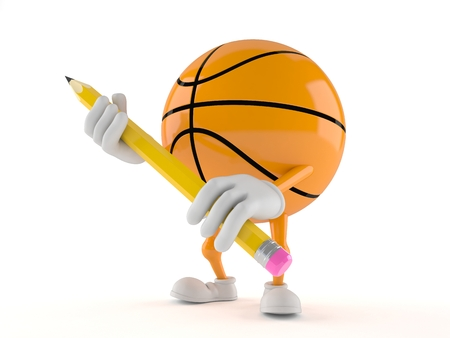 Basketball character holding pencil isolated on white background Фото со стока - 95463667