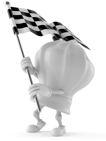 Chef character with racing flag isolated on white background Stock Photo