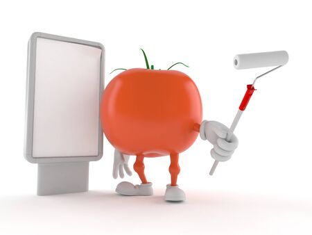 Tomato character with blank billboard isolated on white background Stock Photo