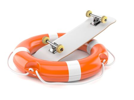 Skateboard with life buoy isolated on white background