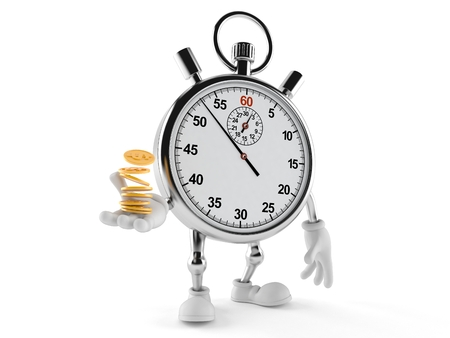 Stopwatch character with coins isolated on white background Stock Photo