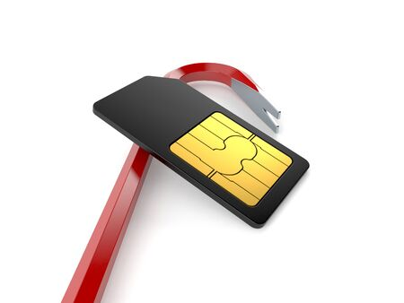SIM lock concept isolated on white background Stock Photo