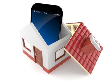 Smart phone inside house isolated on white background Stock Photo