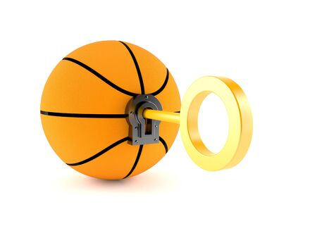 Basketball with golden key isolated on white background