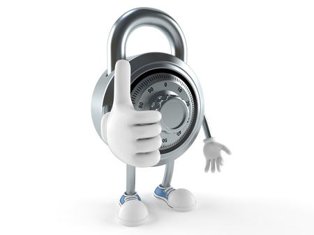 Combination lock character with thumbs up isolated on white background