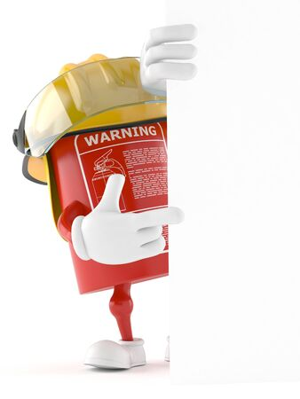 Fire extinguisher character isolated on white background Foto de archivo