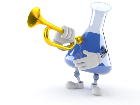 Chemistry flask character playing the trumpet isolated on white background