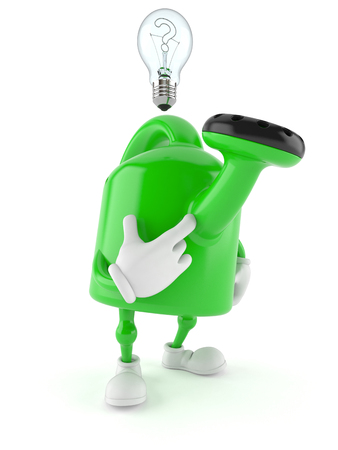 Watering can character with Light bulb isolated on white background
