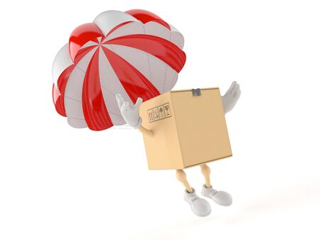Package character with parachute isolated on white background