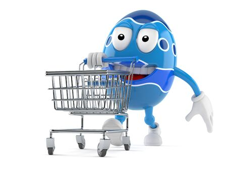 Easter egg character with shopping cart isolated on white background Stock Photo