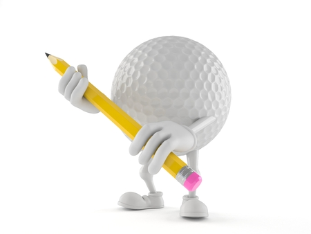 Golf ball character holding pencil isolated on white background