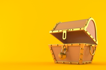 Open treasure chest isolated on orange background