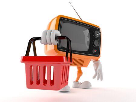 Retro TV character holding shopping basket isolated on white background Stock Photo