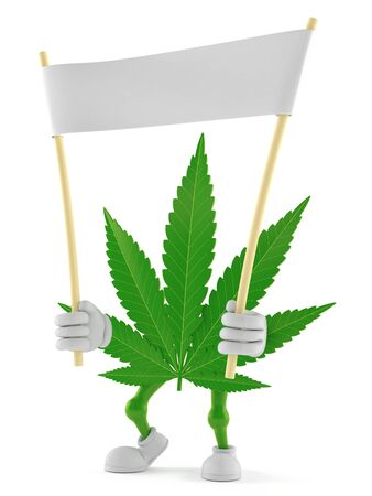 Cannabis character holding blank banner isolated on white background