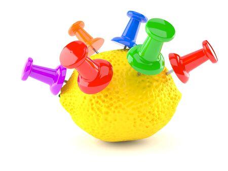 Lemon with thumbtacks isolated on white background