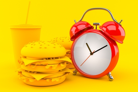 Fast food background with alarm clock in orange color