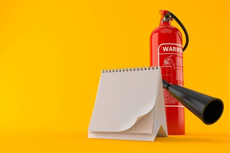Fire extinguisher with blank calendar isolated on orange background Stock Photo