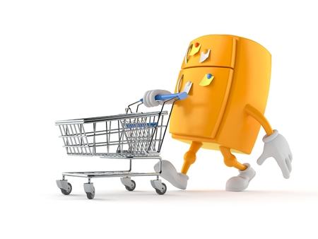 Fridge character with shopping cart isolated on white background Foto de archivo