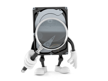 Hard disk drive character looking through magnifying glass isolated on white background