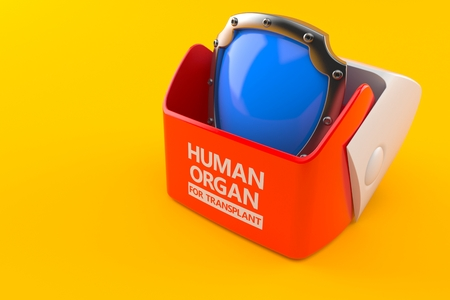 Human organ for transplant concept isolated on orange background