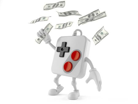 Gamepad character catching money isolated on white background