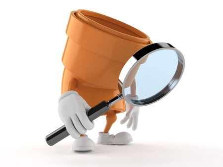 Pipe character looking through magnifying glass isolated on white background