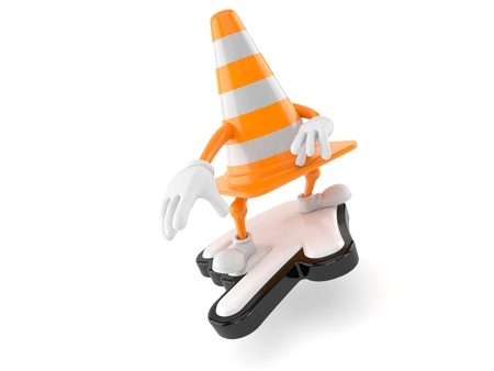 Traffic cone character surfing on web cursor isolated on white background Banco de Imagens