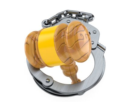 Gavel inside handcuffs isolated on white background