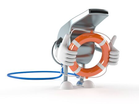 Whistle character holding life buoy isolated on white background