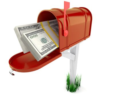 Mailbox with dollars isolated on white background