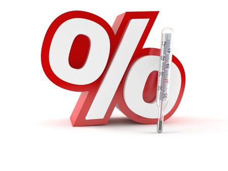 Percent symbol with thermometer isolated on white background
