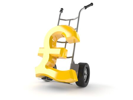 Hand truck with pound symbol isolated on white background Stock Photo