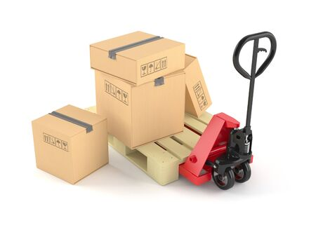 Hand pallet truck with packages isolated on white background 写真素材