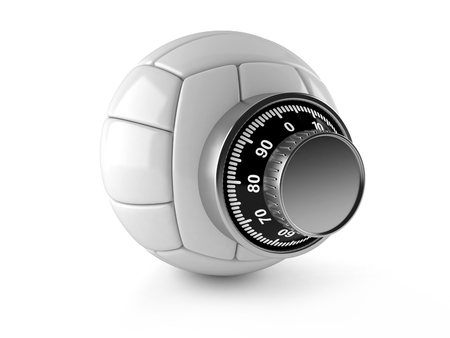 Volleyball with combination lock isolated on white background Imagens - 96016673