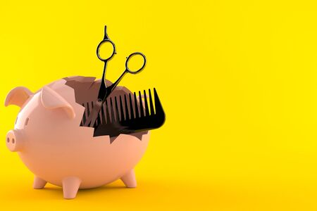 Barber scissors with comber inside piggy bank isolated on orange background