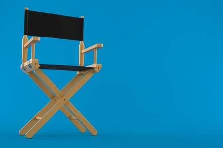 Movie director chair isolated on blue background