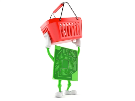 Circuit board character holding shopping basket isolated on white background