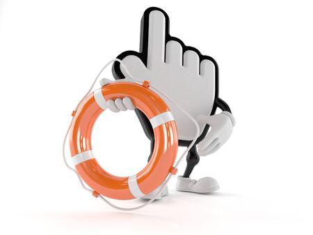 Cursor character holding life buoy isolated on white background