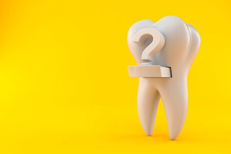 Tooth with question mark isolated on orange background
